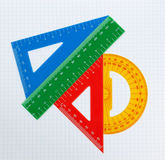 School Drawing Tools. Triangle, Ruler. Royalty Free Stock Photos