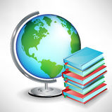School earth globe and pile of books Royalty Free Stock Images