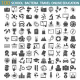 School education. Bacteria and viruses. Travel and vacation. Online education simple icons set royalty free stock images