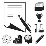 School and education black icons in set collection for design.College, equipment and accessories vector symbol stock web. School and education black icons in set Stock Image