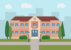 School and education. Buildings for city construction. Set of elements to create urban background, village and town landscape.  Flat style vector illustration Royalty Free Stock Photography