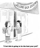 School. Education cartoon about two different perspectives on a new school year Stock Photography