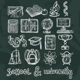 School education chalkboard icons. Retro school and university education chalkboard icons set of ruler microscope dna vector illustration stock illustration