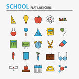 School and Education Colorful Flat Line Icons Set. Vector Set of 25 Science Graduation Modern Thin Outline Icons for Web and Mobile. Linear Icons Collection Stock Images