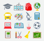 School and Education Colorful Icons Royalty Free Stock Photo