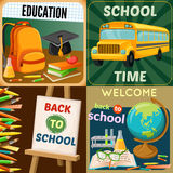 School Education Compositions. With art supplies yellow bus academic disciplines backpack textbooks and stationery isolated vector illustration Royalty Free Stock Images