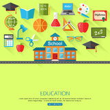 School and education concept background with place. For text. Collection of flat education icons. Vector illustration stock illustration