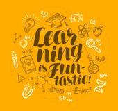 School, education concept. Learning is fan-tastic, handwritten lettering. Doodle vector illustration Stock Image