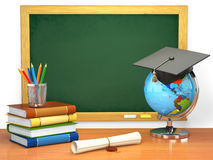 School education concept. Mortar board, blackboard, books, globe Stock Images