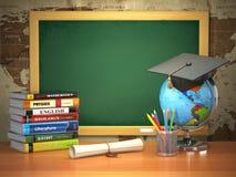 School education concept. Mortar board, blackboard, textbooks, g. Lobe and pencils. 3d Royalty Free Stock Image