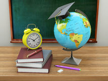 School education concept. Mortar board, blackboard, textbooks, g. Lobe and pencils. 3d illustration Stock Photography