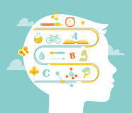 School and Education Concept. Science and Literacy Icons. Infographic Style Stock Photo