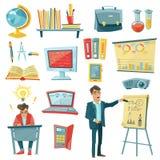 School Education Decorative Icons Set Royalty Free Stock Images