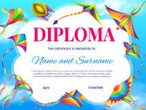 Free School Education Diploma Vector Template With Kite Stock Photo - 212645110