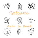 School education doodle sketch icons set. Hand drawn vector icon collection. Welcome back to school Stock Photo