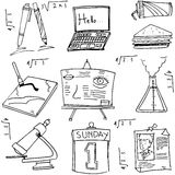 School education doodles collection. On white backgrounds Royalty Free Stock Image