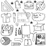School education doodles suplies bag paper board Stock Photos