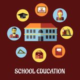School education flat design Stock Photography