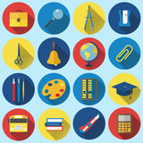 School and Education Flat Icons with long shadow Royalty Free Stock Photo