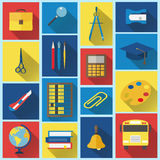 School and Education Flat Icons with long shadow Stock Image