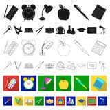 School and education flat icons in set collection for design.College, equipment and accessories vector symbol stock web. School and education flat icons in set stock illustration