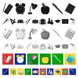 School and education flat icons in set collection for design.College, equipment and accessories vector symbol stock web. School and education flat icons in set vector illustration