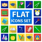 School and education flat icons in set collection for design.College, equipment and accessories vector symbol stock web. School and education flat icons in set Royalty Free Stock Image