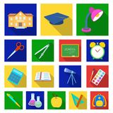 School and education flat icons in set collection for design.College, equipment and accessories vector symbol stock web. School and education flat icons in set Royalty Free Stock Photos