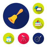 School and education flat icons in set collection for design.College, equipment and accessories vector symbol stock web. School and education flat icons in set Royalty Free Stock Photography