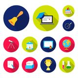 School and education flat icons in set collection for design.College, equipment and accessories vector symbol stock web. School and education flat icons in set Stock Photography