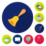 School and education flat icons in set collection for design.College, equipment and accessories vector symbol stock web. School and education flat icons in set Stock Photos
