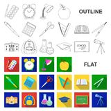 School and education flat icons in set collection for design.College, equipment and accessories vector symbol stock web. School and education flat icons in set royalty free illustration