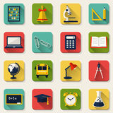 School and education flat icons. Vector set. Back to school. Flat colored icons with long shadows. Collection of design elements. Vector illustration Stock Image