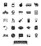 School and Education Glyph Icon Set Stock Images