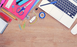 School or education hero header. With laptop and school items Stock Photos