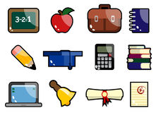 School And Education Icon Set 1. Set of school and education icon vector stock illustration