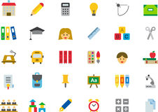 School and education icon set. Colorful icons relating to school and education on white Stock Photography
