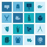 School and Education Icons. School and Education Icon Set. Flat design style. Vector Stock Photo