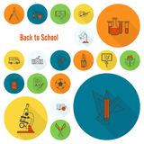 School and Education Icons. School and Education Icon Set. Flat design style. Vector Royalty Free Stock Photography