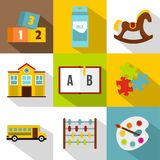 School and education icon set, flat style. School and education icon set. Flat style set of 9 school and education vector icons for web design Stock Photography