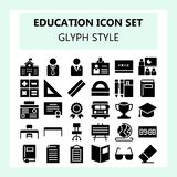 School and Education icon set in glyph or solid style vector illustration