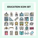 School and Education icon set, new style in filled unconnected outline style royalty free illustration