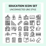 School and Education icon set, New style in NBA or Unconnected Outline style, vector illustration