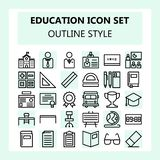 School and Education icon set in Outline / line style royalty free illustration