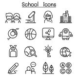 School & Education icon set in thin line style vector illustration