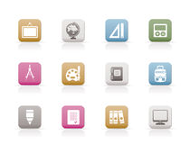 School and education icons. Icon set Royalty Free Stock Photos