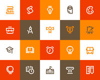 School and education icons. Flat style Royalty Free Stock Photos