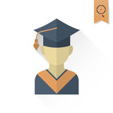 School and Education Icons. School and Education Icon - Master Cap. Vector Illustration. Flat design style Royalty Free Stock Images