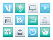 School and education icons over color background. Vector icon set stock illustration
