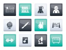 School and education icons over color background royalty free stock image